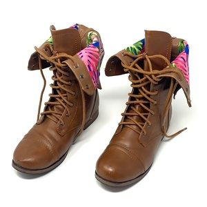 Women's lace up combat boots floral cuff